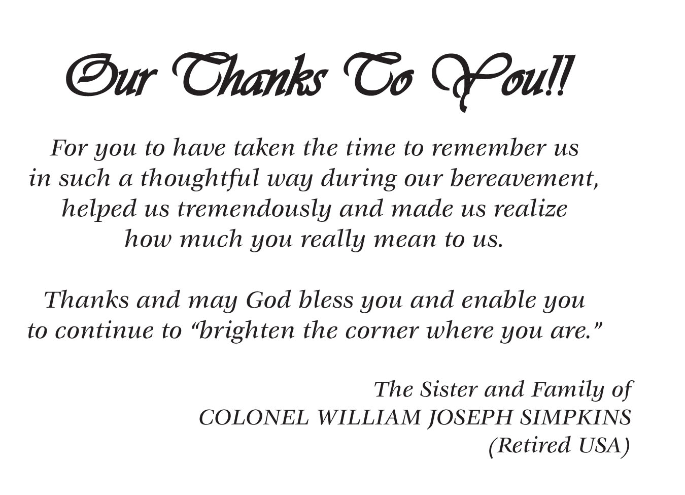 Thank You & Memorial Cards